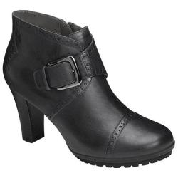 Women's Aerosoles Monument Buckle Bootie Black Leather