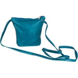 Women's David King Leather 3518 Florentine Top Zip Mini Bag Blue