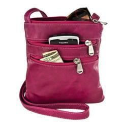 Women's David King Leather 3734 Florentine Cross Body Bag Fuschia