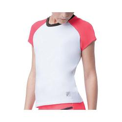 Girls' Fila Diva Cap Sleeve Top White/Pirate Charcoal/Diva Pink