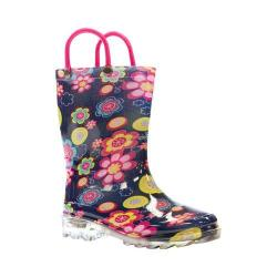 Girls' Western Chief Big Bloom Lighted Rain Boot Navy