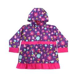 Girl's Western Chief Lovely Floral Purple Raincoat with Pink accents and Ruffled Hem