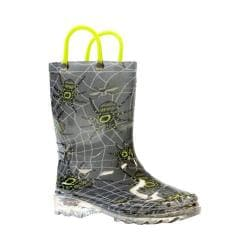 Boys' Western Chief Spider Prey Lighted Rain Boot Charcoal