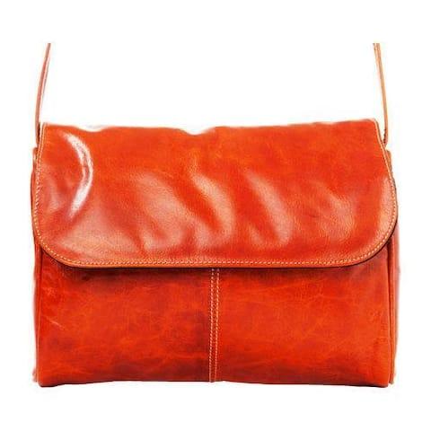 Women's David King Leather 3522 Florentine Flap Front Handbag Honey