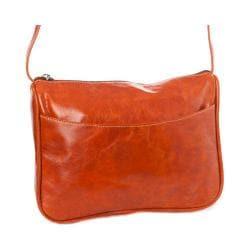 Women's David King Leather 3525 Florentine Top Zip Open Front Pocket Honey