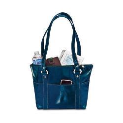 Women's David King Leather 3543 Florentine 6 Pocket Shopper Blue