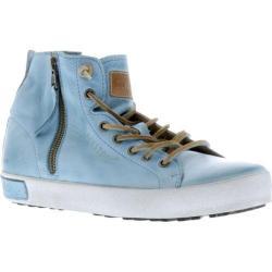 Women's Blackstone JL18 High Top Zipper Sneaker Sky Blue Full Grain Leather