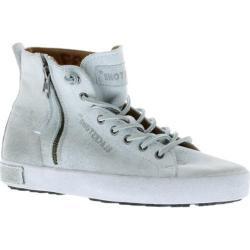 Women's Blackstone JL18 High Top Zipper Sneaker White Metallic Full Grain Leather