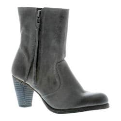 Women's Blackstone JL86 Stacked Heel Boot Charcoal Full Grain Leather