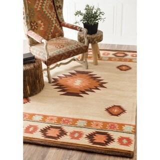 nuLOOM Hand-tufted Southwestern Wool Beige Rug (7' 6 x 9' 6)