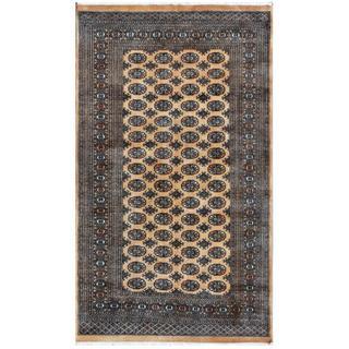 Herat Oriental Pakistani Hand-knotted Bokhara Tan/ Ivory Wool Rug (4'11 x 8'3)