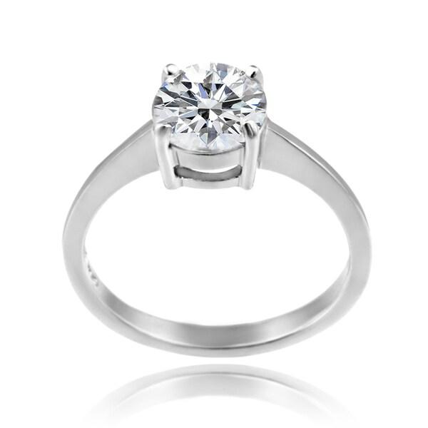 1b177c4ce1211b Zirconia Ice Sterling Silver Solitaire Round-cut Swarovski Zirconia Ring