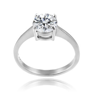 Zirconia Ice Sterling Silver Solitaire Round-cut Swarovski Zirconia Ring