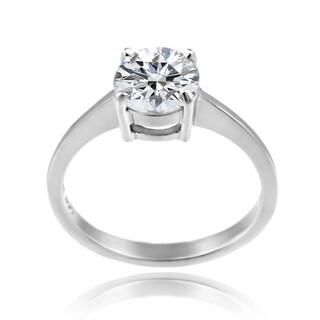 Zirconia Ice Sterling Silver Solitaire Round-cut Swarovski Zirconia Ring