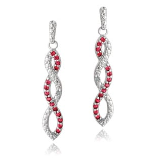 Glitzy Rocks Sterling Silver Created Gemstone and Diamond Accent Triple Infinity Dangle Earrings