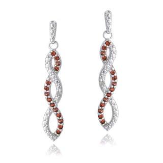 Glitzy Rocks Sterling Silver Gemstones and Diamond Accent Triple Infinity Dangle Earrings