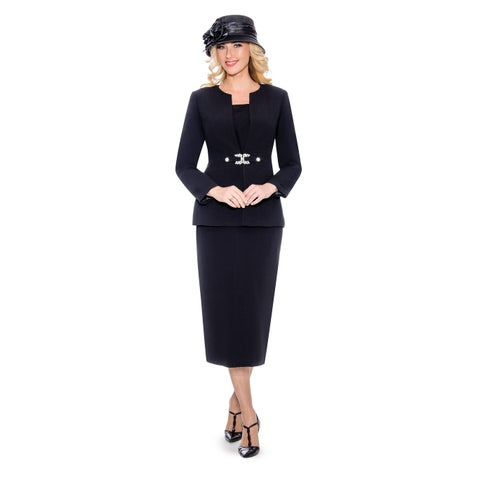 Giovanna Signature Women's Rhinestone Brooch 3-piece Skirt Suit