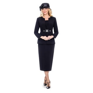 Giovanna Signature Women's Rhinestone Brooch 3-piece Skirt Suit (More options available)
