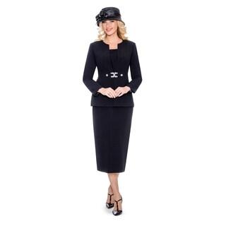 Giovanna Signature Women's Rhinestone Brooch 3-piece Skirt Suit (4 options available)