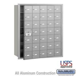 Salsbury 4B+ Horizontal Mailbox - 35 A Doors (34 usable) - Aluminum - Front Loading - USPS Access