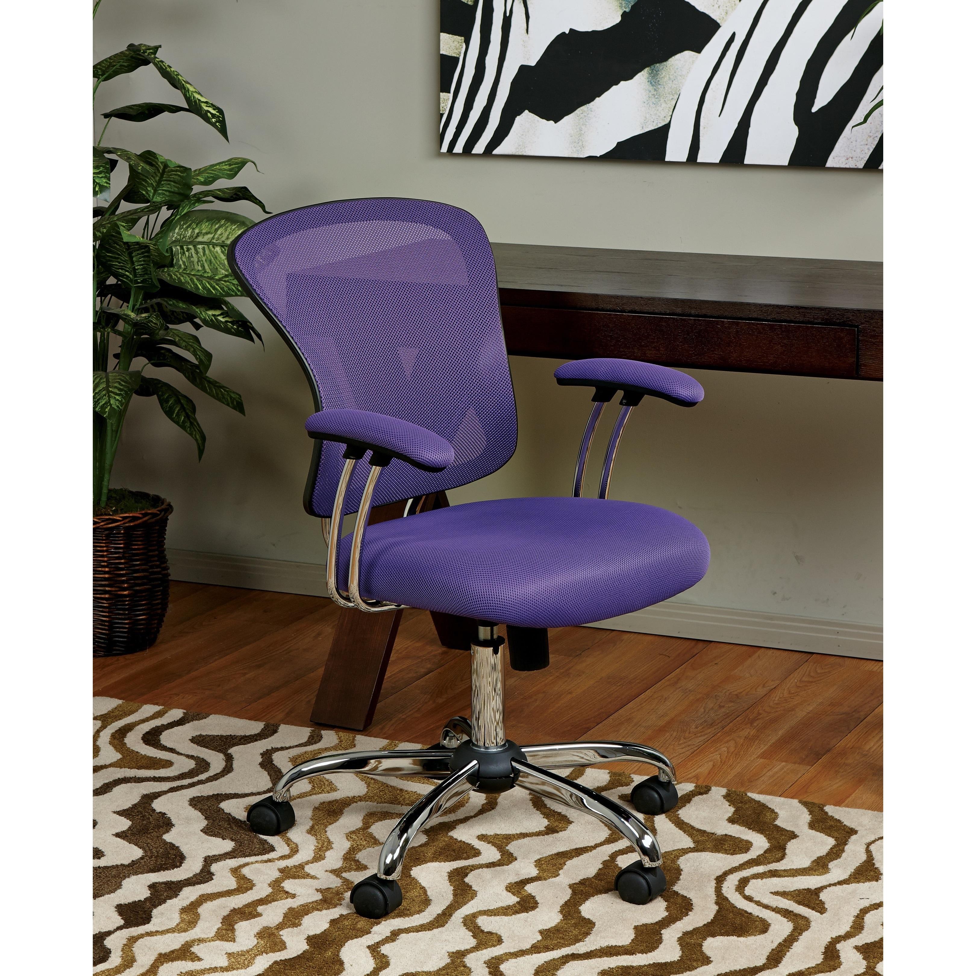 Porch Den Globeville Chrome Mesh Vinyl Adjustable Tilt Tension Office Chair