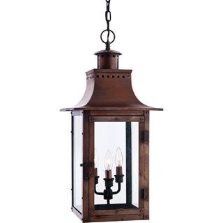 Quoizel Chalmers 3-light Aged Copper Large Hanging Lantern