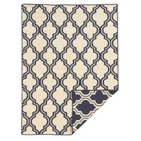 Linon Foundation Collection Navy Quatrefoil Reversible Rug (5' x 8') - 5' x 8'