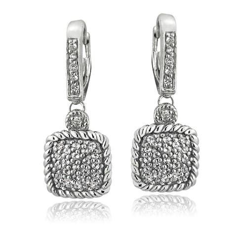Glitzy Rocks Silvertone Gemstone and White Topaz Square Rope Leverback Earrings