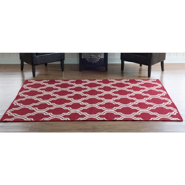 Linon Foundation Collection Red Ivory Quatrefoil Reversible Rug 5 X 8 Free Shipping Today 9003194