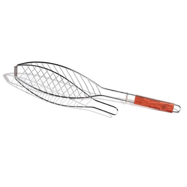 Outset Chrome Fish Basket with Rosewood Handle