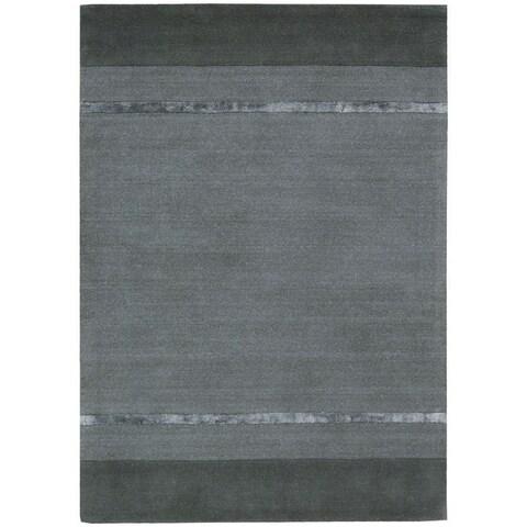"""Calvin Klein Vale Handmade Graphite Grey Area Rug by Nourison - 2'3"""" x 7'6"""" Runner"""