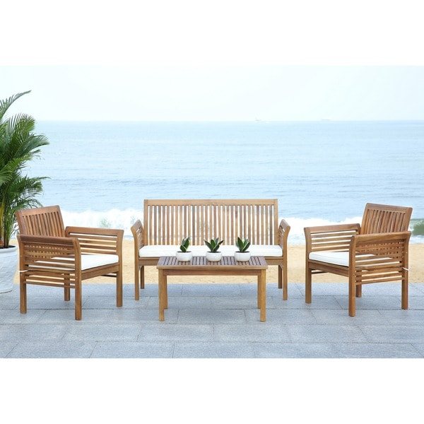 fontana teak finish beige acacia wood 4 piece outdoor furniture set