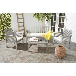Safavieh Carson Grey Wash Acacia Wood 4-piece Outdoor Furniture Set