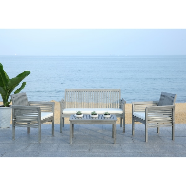 Safavieh Carson Grey Wash Acacia Wood 4 Piece Outdoor Furniture Set