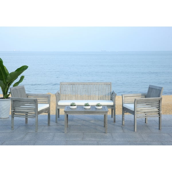 Safavieh Carson Grey Wash Acacia Wood 4 piece Outdoor Furniture Set. Safavieh Carson Grey Wash Acacia Wood 4 piece Outdoor Furniture