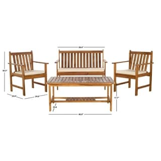 Safavieh Burbank Teak Finish Brown Acacia Wood 4-piece Outdoor Furniture Set