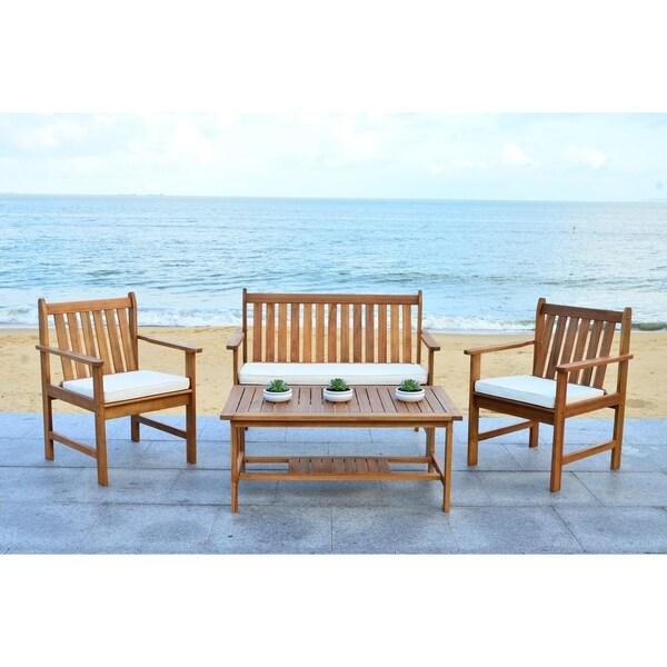 Safavieh Outdoor Living Burbank Brown Acacia Wood 4-piece Furniture Set