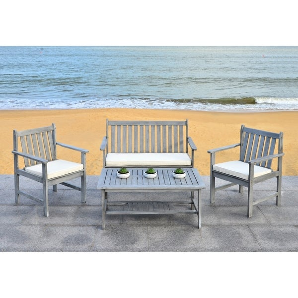 Safavieh Burbank Grey Wash Acacia Wood 4 Piece Outdoor Furniture Set   Free  Shipping Today   Overstock.com   16207349