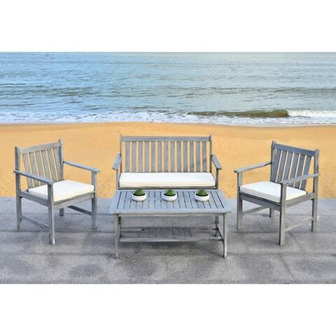 Safavieh Outdoor Living Burbank Grey Wash Acacia Wood 4-piece Furniture Set