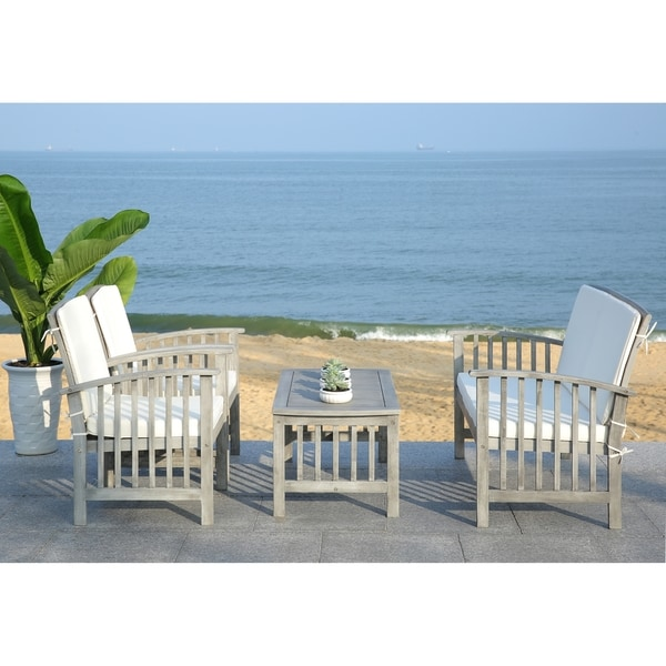 Safavieh Rocklin Grey Wash Acacia Wood 4 Piece Outdoor Furniture Set