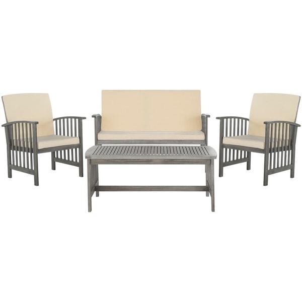 safavieh rocklin grey wash acacia wood 4piece outdoor furniture set free shipping today