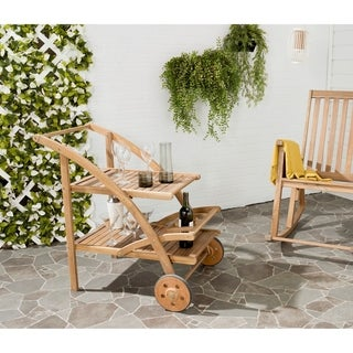 """Safavieh Lodi Brown Acacia Wood Tea Cart - 25.2"""" x 34.3"""" x 34.3"""""""