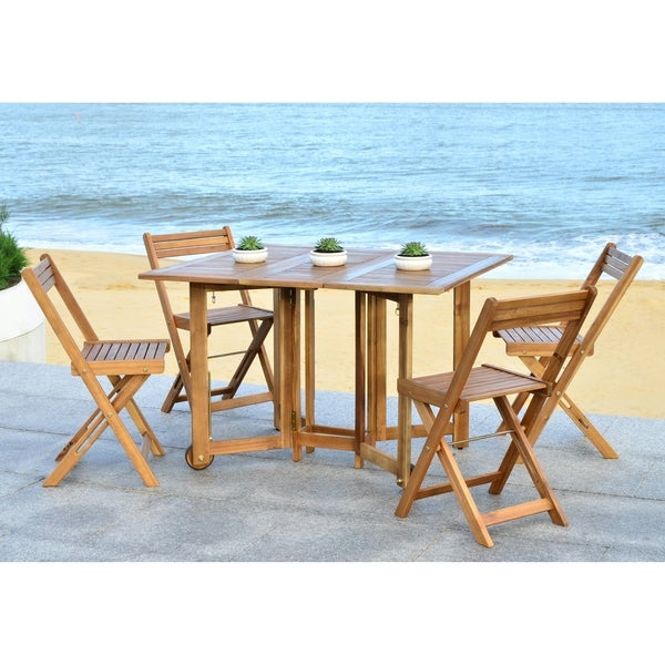 Safavieh Arvin Finish Brown Acacia Wood 5 Piece Outdoor Dining Table Set