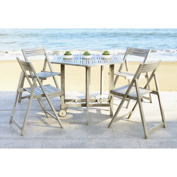 Safavieh Kerman Grey Wash Acacia Wood 5 Piece Outdoor Dining Table Set
