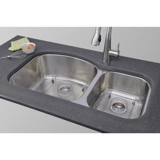 Wells Sinkware 37-inch Undermount 60/40 Double Bowl 17-gauge Deck/ 18-gauge Bowl Stainless Steel Kitchen Sink