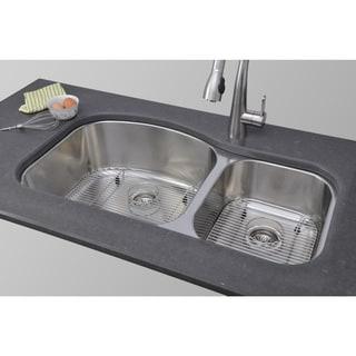 Wells Sinkware 37-inch Undermount 60/40 Double Bowl 17-gauge Deck/ 18-gauge Bowl Stainless Steel Kitchen Sink