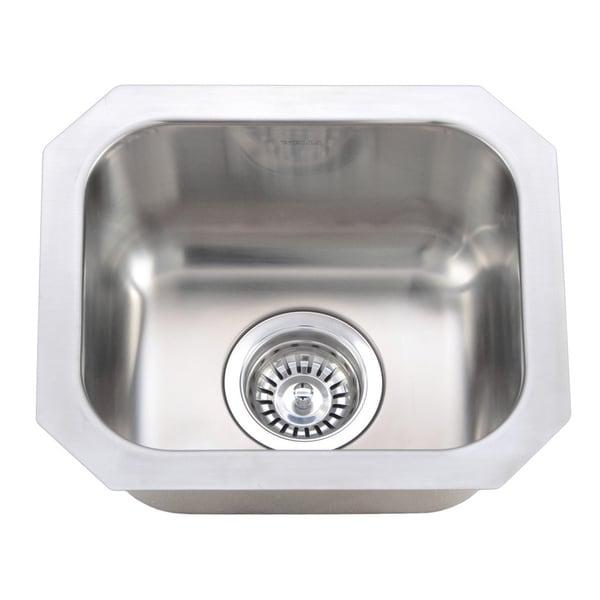 Wells Sinkware 18 Gauge Single Undermount Bowl Stainless Steel Kitchen Sink
