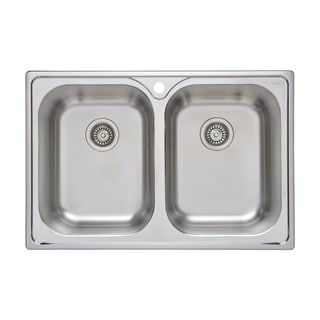 Wells Sinkware 33-inch 18 Gauge Double Bowl Topmount Stainless Steel Kitchen Sink