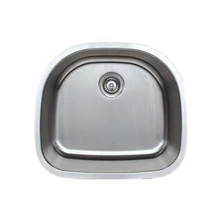 Wells Sinkware Craftsmen Series 24-inch 18-gauge Undermount D-Shape Single Bowl Stainless Steel Kitchen Sink