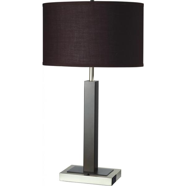 single light espresso brown metal table lamp with outlet base free. Black Bedroom Furniture Sets. Home Design Ideas